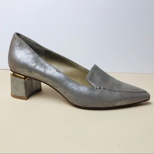 Enzo Angiolini metallic heels with gold accent